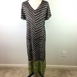 Avenue Brown and Green Printed Maxi Dress